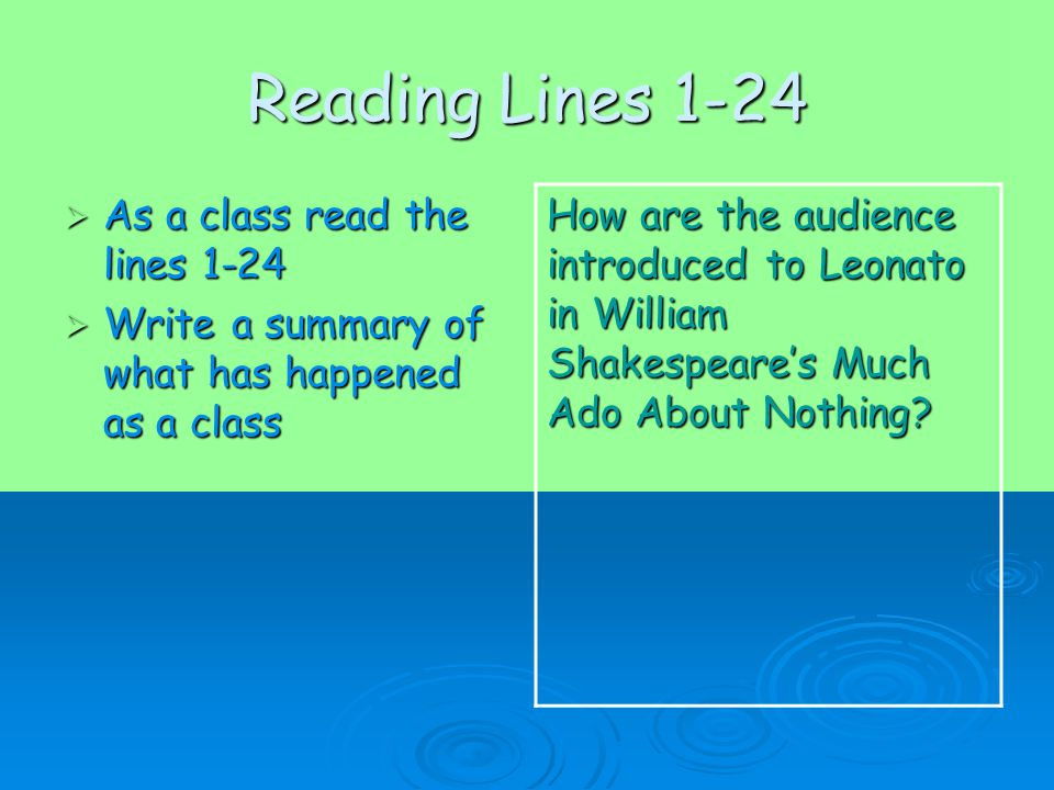 Reading Lines 1-24  As a class read the lines 1-24  Write a summary of what has happened as a class How are the audience introduced to Leonato in William Shakespeare's Much Ado About Nothing