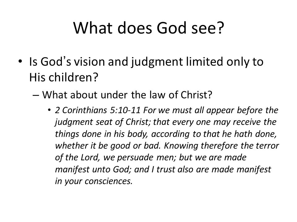 What does God see. Is God's vision and judgment limited only to His children.