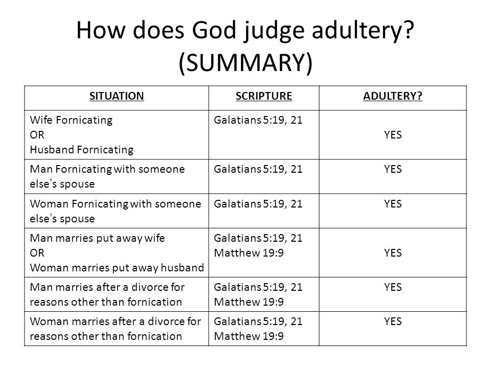 How does God judge adultery. (SUMMARY) SITUATIONSCRIPTUREADULTERY.