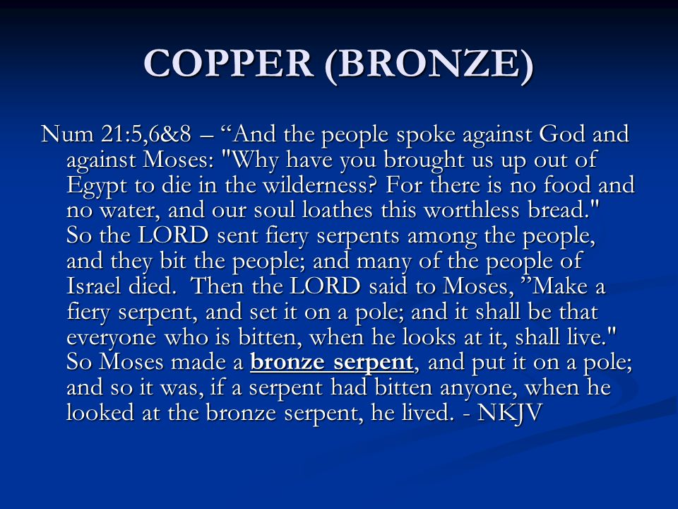 COPPER (BRONZE) Num 21:5,6&8 – And the people spoke against God and against Moses: Why have you brought us up out of Egypt to die in the wilderness.