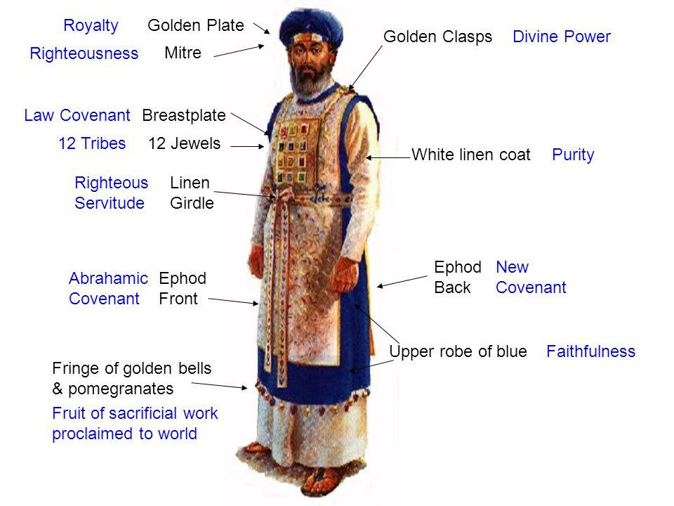Mitre White linen coat Golden Plate Upper robe of blue Linen Girdle Fringe of golden bells & pomegranates Ephod Front Breastplate Golden Clasps Royalt