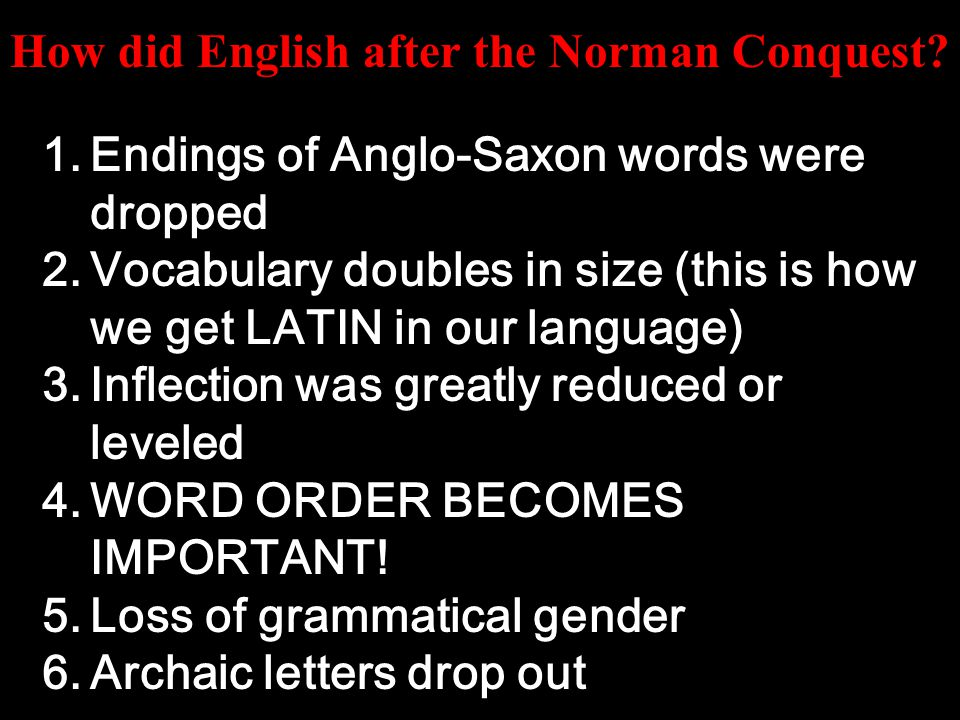 Several things happened to change English at the time of the Norman Conquest: French became the official written language, and English became the unofficial, spoken language.