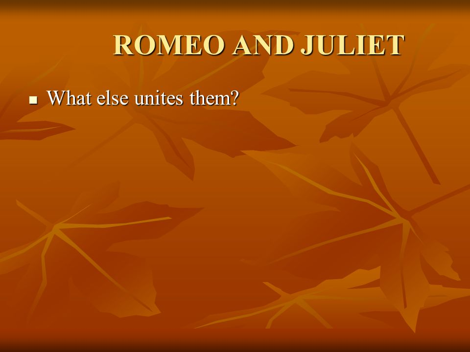 ROMEO AND JULIET What else unites them What else unites them
