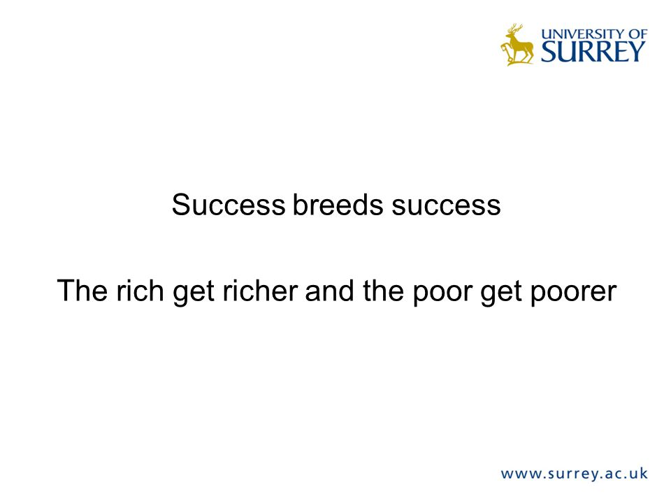 Success breeds success The rich get richer and the poor get poorer