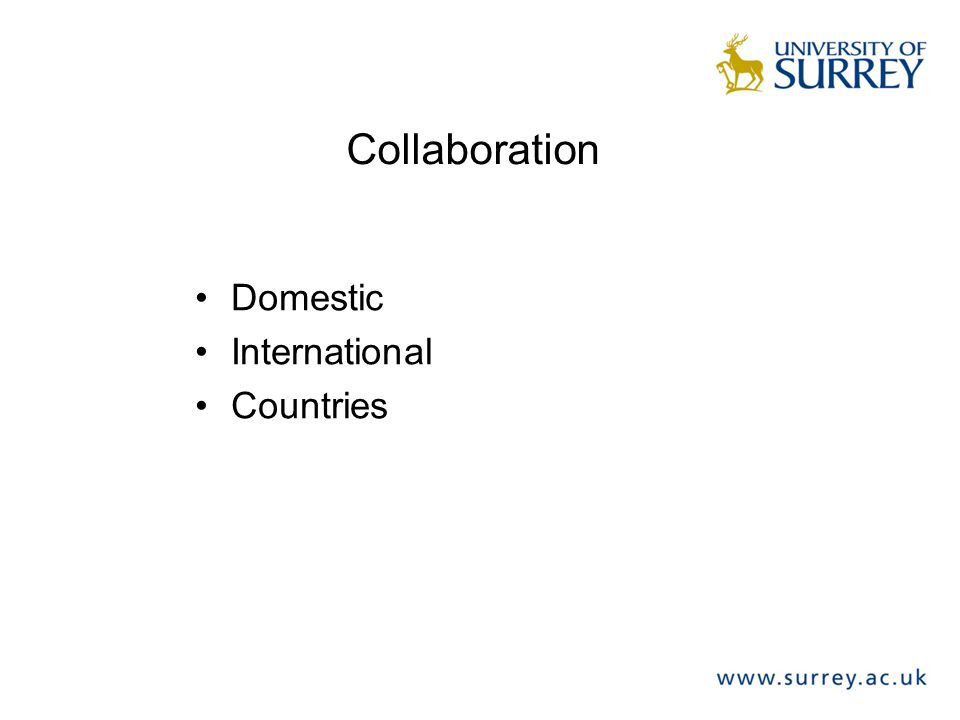 Collaboration Domestic International Countries