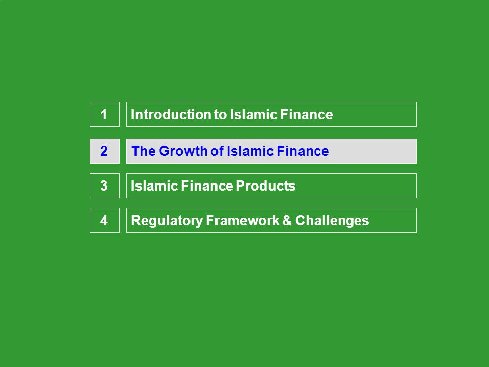 Presentation Overview The Growth of Islamic Finance2 Introduction to Islamic Finance1 3 4 Islamic Finance Products Regulatory Framework & Challenges