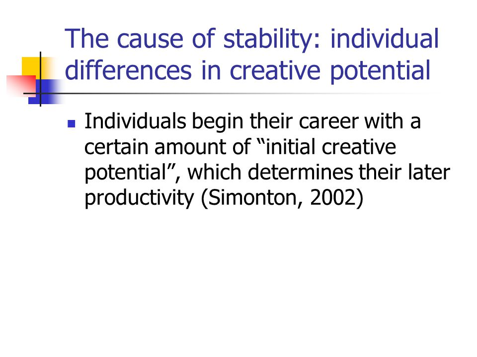 "The cause of stability: individual differences in creative potential Individuals begin their career with a certain amount of ""initial creative potenti"