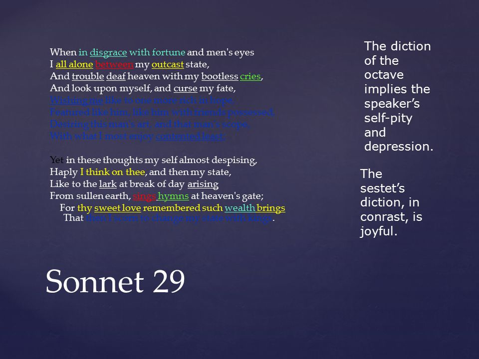 shakespeare sonnet 29 essay Free essays on shakespeare sonnet  william shakespeare – sonnet 29 in sonnet 29 when in disgrace with fortune and men's eyes written by william shakespeare.