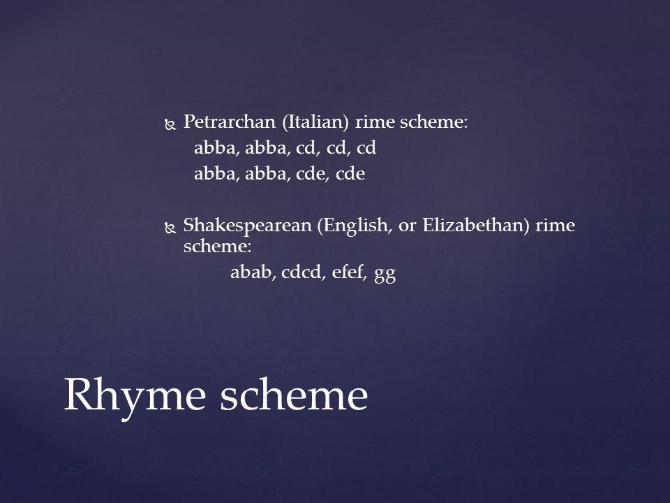Rhyme scheme   Petrarchan (Italian) rime scheme: abba, abba, cd, cd, cd abba, abba, cde, cde   Shakespearean (English, or Elizabethan) rime scheme