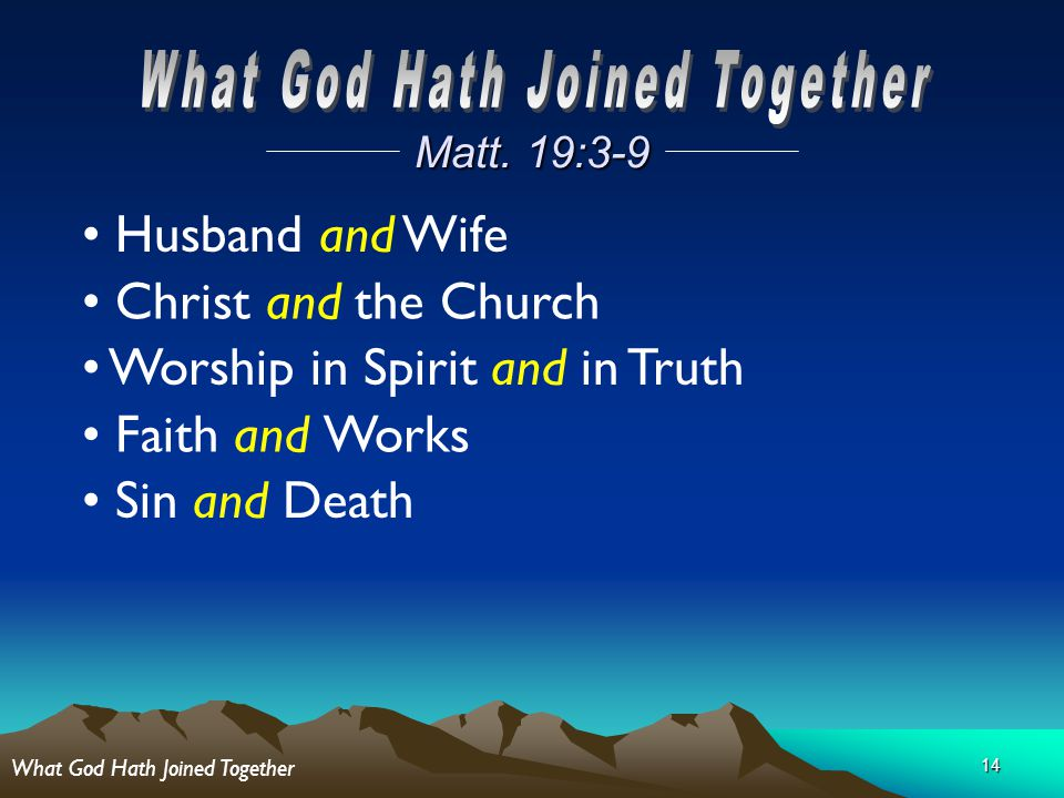 14 Matt. 19:3-9 Husband and Wife Christ and the Church Worship in Spirit and in Truth Faith and Works Sin and Death What God Hath Joined Together
