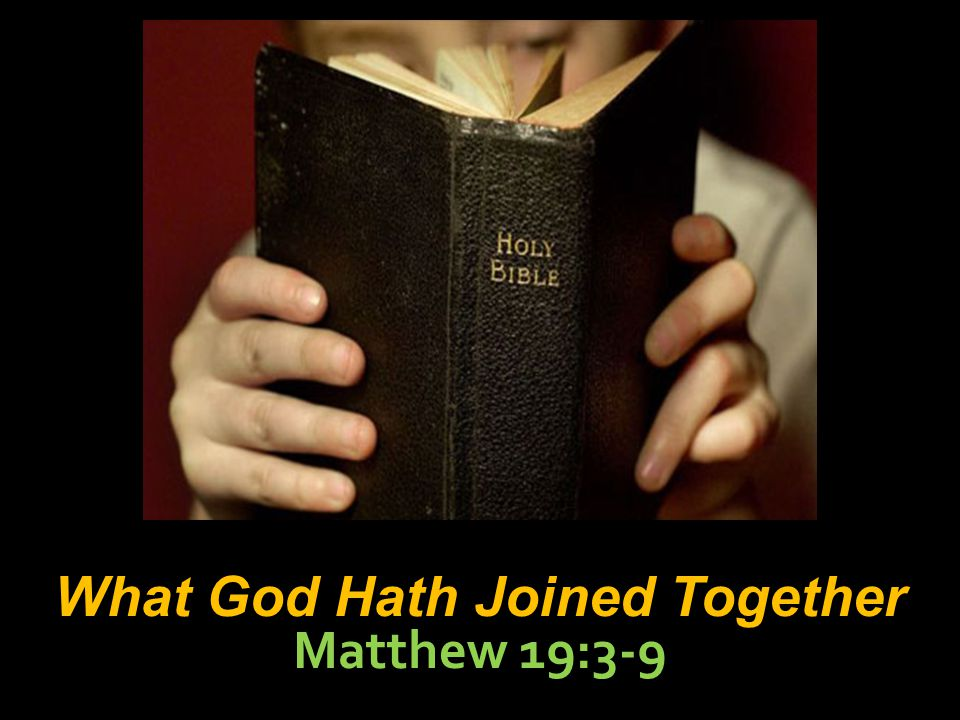 2 What God Hath Joined Together Matthew 19:3-9