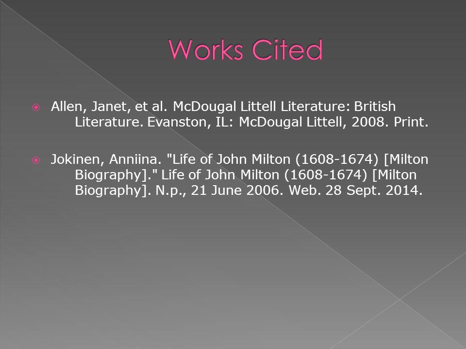  Allen, Janet, et al. McDougal Littell Literature: British Literature.