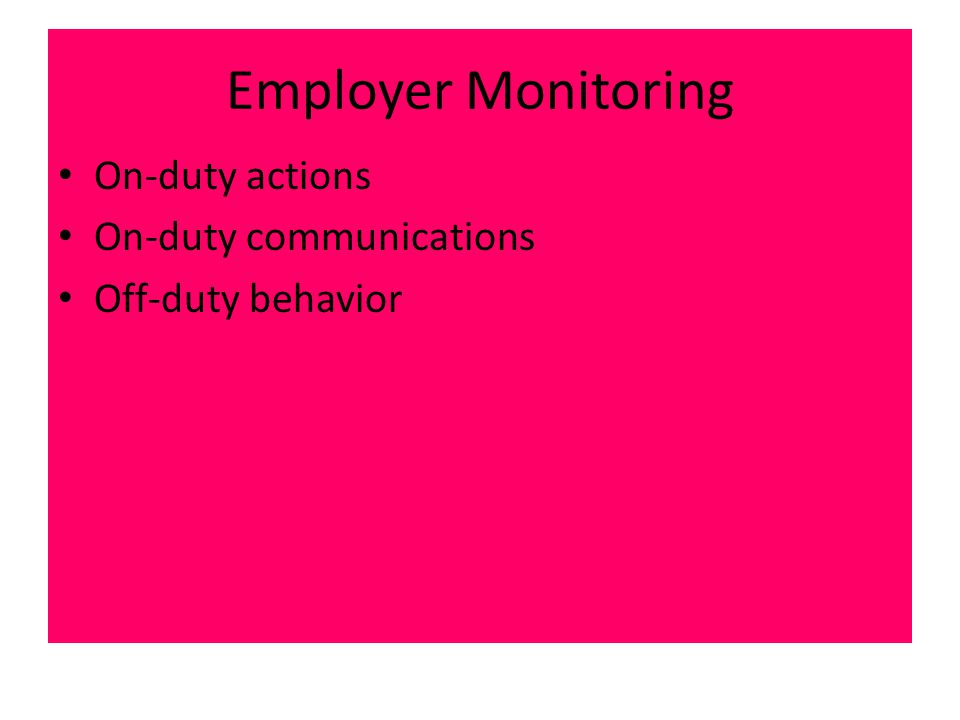 Employer Monitoring On-duty actions On-duty communications Off-duty behavior