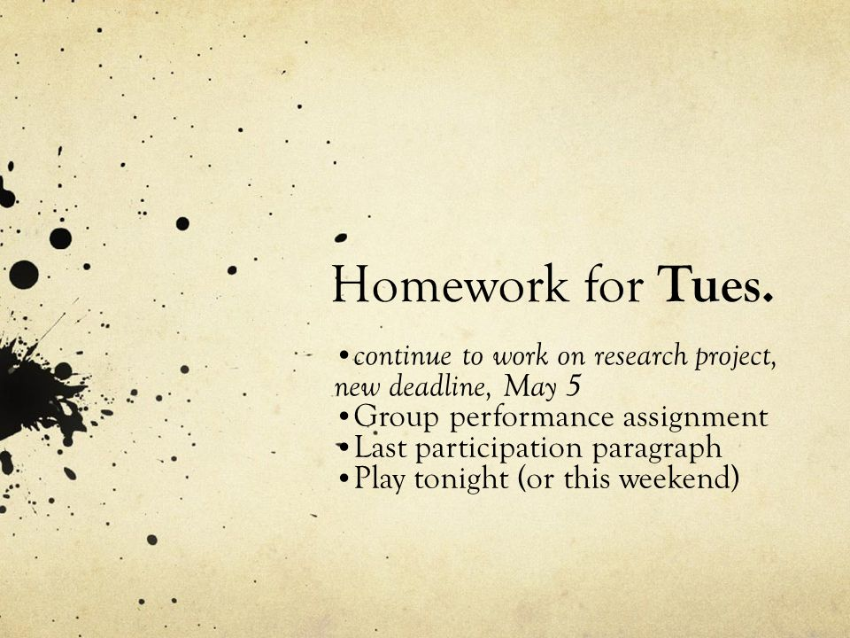 Homework for Tues.