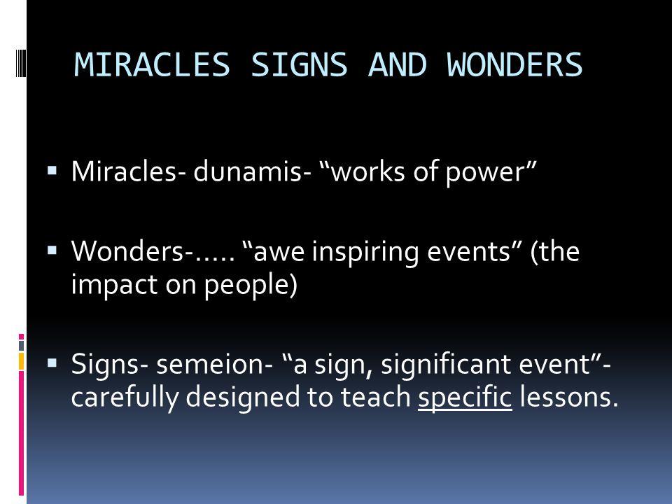 MIRACLES SIGNS AND WONDERS  Miracles- dunamis- works of power  Wonders-.....