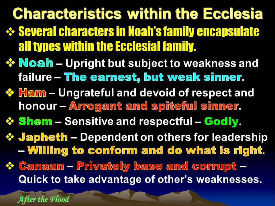 Characteristics within the Ecclesia