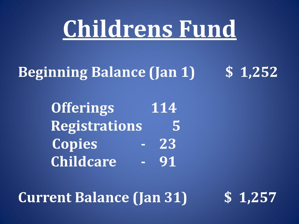 Childrens Fund Beginning Balance (Jan 1) $ 1,252 Offerings 114 Registrations 5 Copies - 23 Childcare - 91 Current Balance (Jan 31) $ 1,257