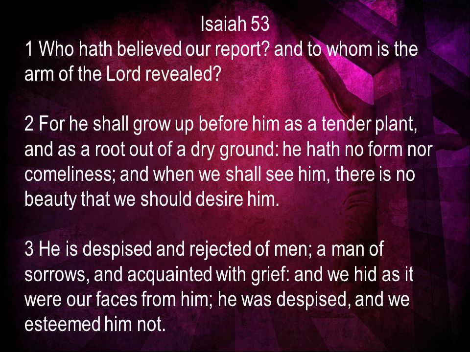 Isaiah 53 1 Who hath believed our report. and to whom is the arm of the Lord revealed.