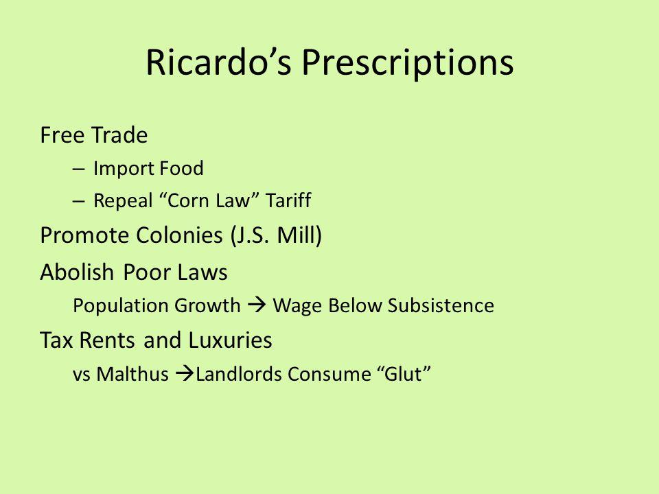 Ricardo's Prescriptions Free Trade – Import Food – Repeal Corn Law Tariff Promote Colonies (J.S.