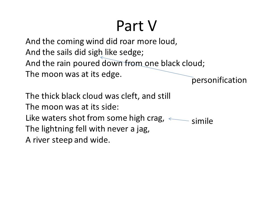 Part V And the coming wind did roar more loud, And the sails did sigh like sedge; And the rain poured down from one black cloud; The moon was at its edge.
