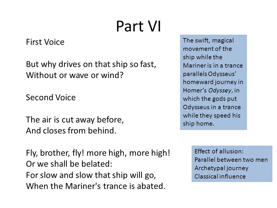Part VI First Voice But why drives on that ship so fast, Without or wave or wind.