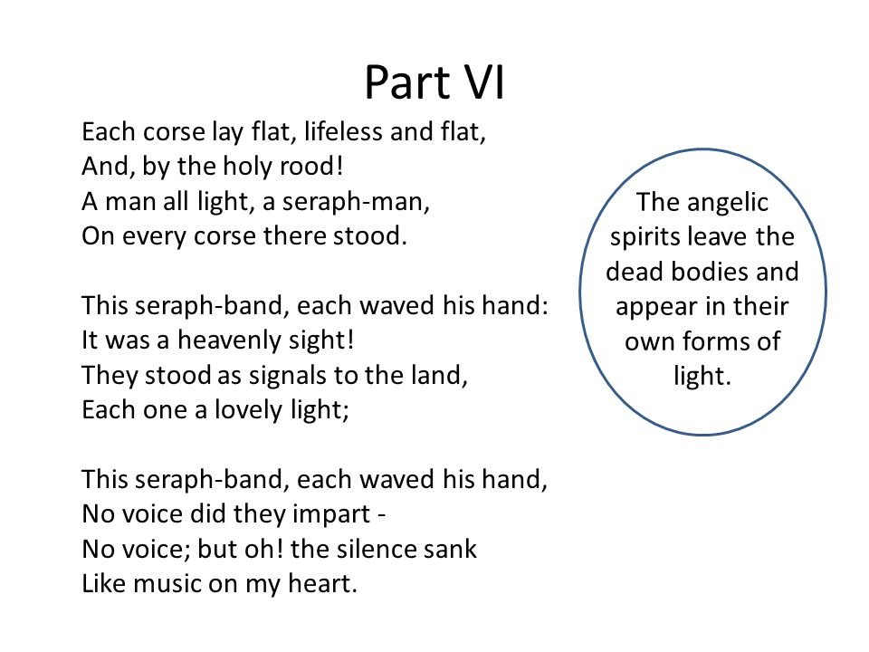 Part VI Each corse lay flat, lifeless and flat, And, by the holy rood.