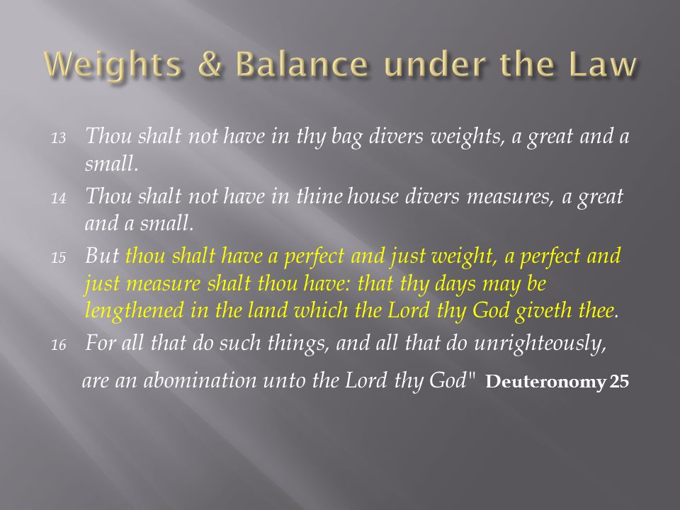 13 Thou shalt not have in thy bag divers weights, a great and a small.