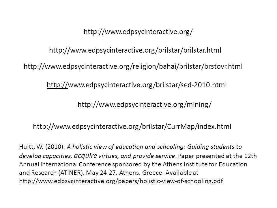 http://www.edpsycinteractive.org/brilstar/brilstar.html http://www.edpsycinteractive.org/brilstar/CurrMap/index.html http://www.edpsycinteractive.org/ Huitt, W.