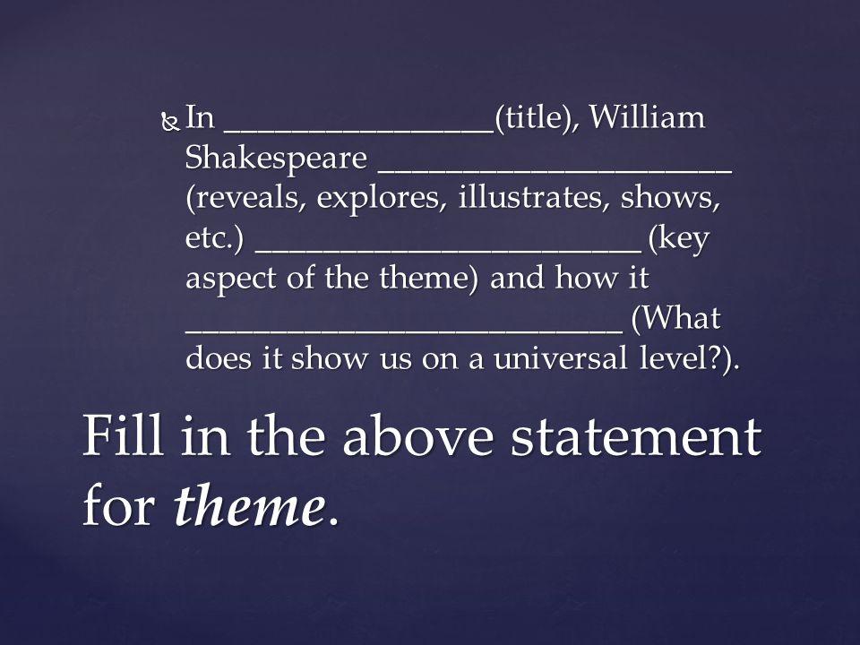  In ________________(title), William Shakespeare _____________________ (reveals, explores, illustrates, shows, etc.) _______________________ (key asp