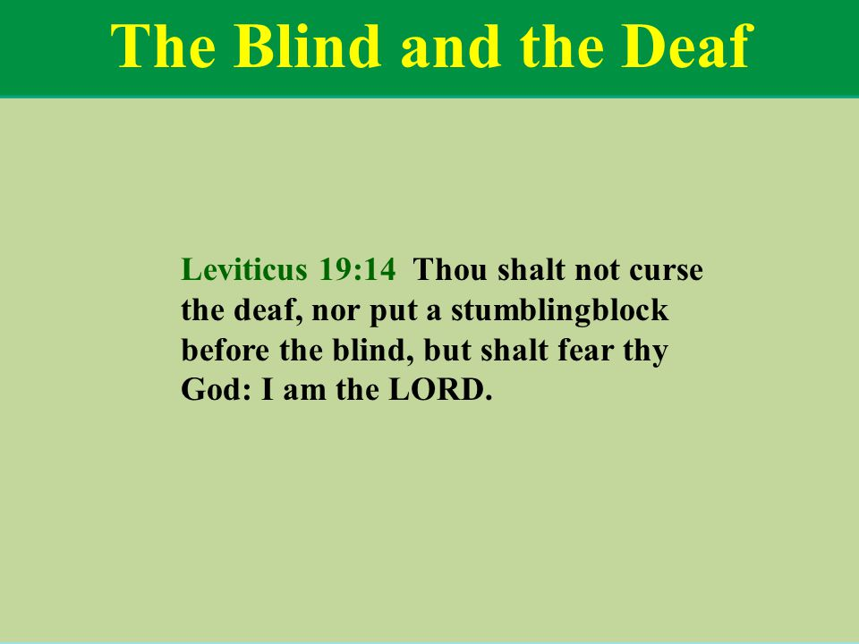 The Blind and the Deaf Leviticus 19:14 Thou shalt not curse the deaf, nor put a stumblingblock before the blind, but shalt fear thy God: I am the LORD.
