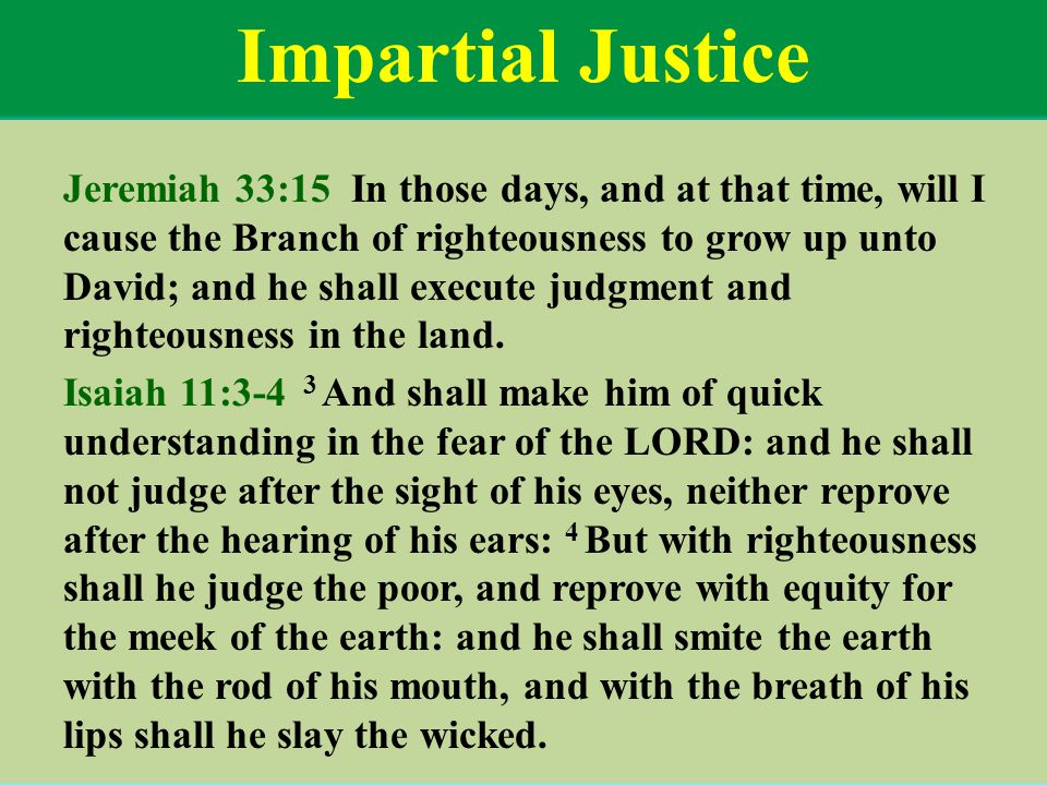 Impartial Justice Jeremiah 33:15 In those days, and at that time, will I cause the Branch of righteousness to grow up unto David; and he shall execute