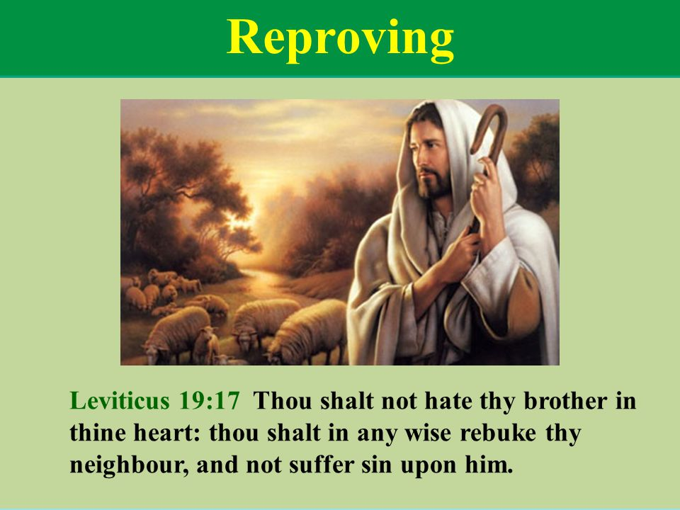 Reproving Leviticus 19:17 Thou shalt not hate thy brother in thine heart: thou shalt in any wise rebuke thy neighbour, and not suffer sin upon him.