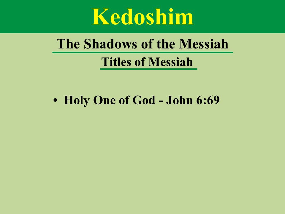 Kedoshim The Shadows of the Messiah Titles of Messiah Holy One of God - John 6:69
