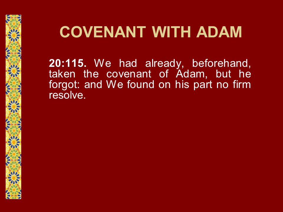 COVENANT WITH ADAM 20:115. We had already, beforehand, taken the covenant of Adam, but he forgot: and We found on his part no firm resolve.
