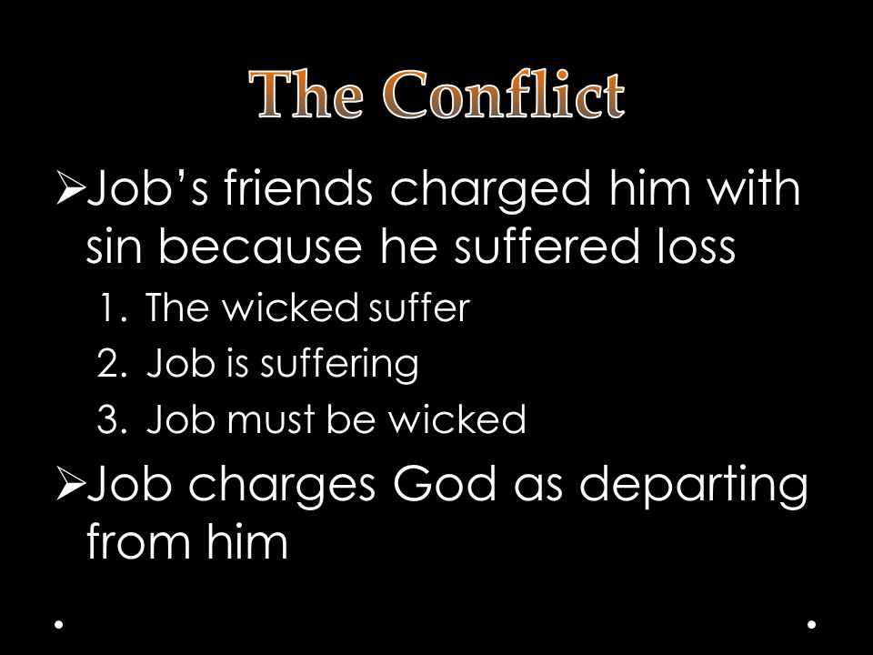  Job's friends charged him with sin because he suffered loss 1.The wicked suffer 2.Job is suffering 3.Job must be wicked  Job charges God as departing from him