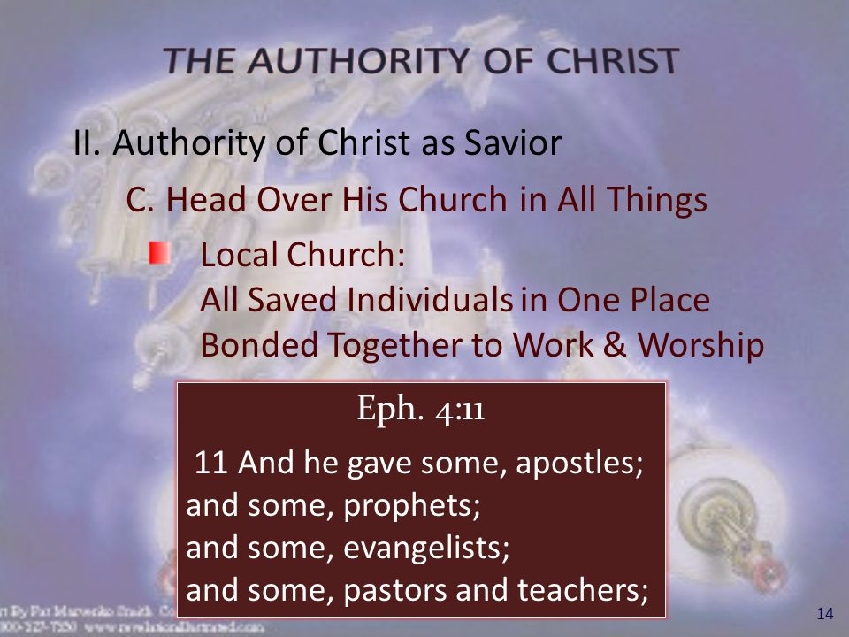 II. Authority of Christ as Savior C.