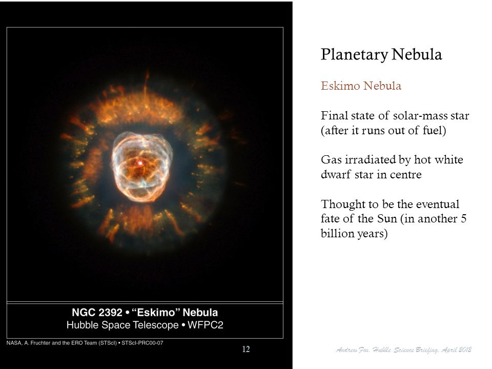 Planetary Nebula Eskimo Nebula Final state of solar-mass star (after it runs out of fuel) Gas irradiated by hot white dwarf star in centre Thought to
