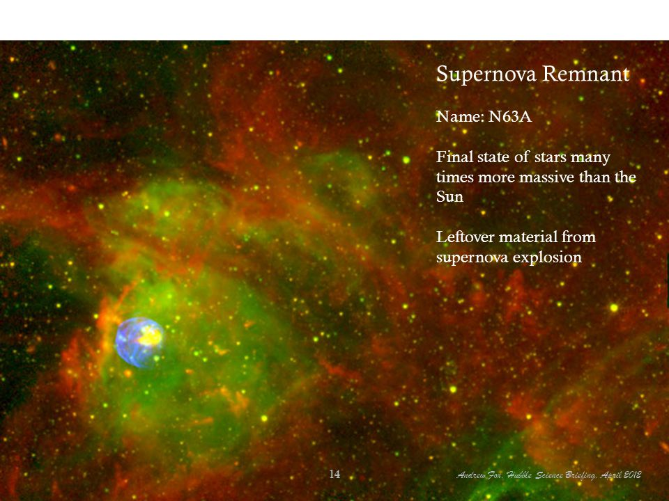 Supernova Remnant Name: N63A Final state of stars many times more massive than the Sun Leftover material from supernova explosion Andrew Fox, Hubble Science Briefing, April 2012 14