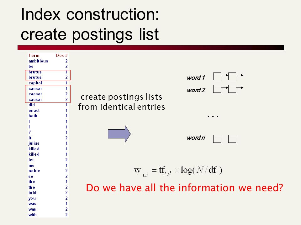Index construction: create postings list create postings lists from identical entries word 1 word 2 word n … Do we have all the information we need?