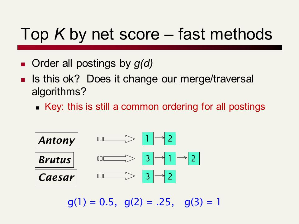 Top K by net score – fast methods Order all postings by g(d) Is this ok? Does it change our merge/traversal algorithms? Key: this is still a common or