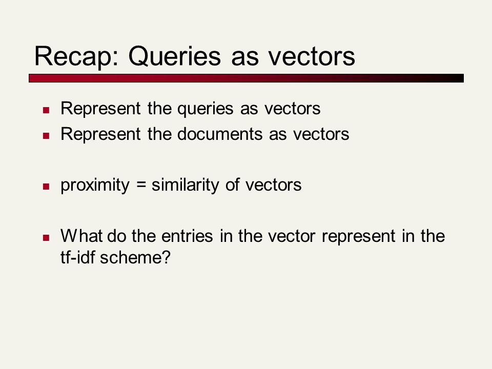 Docs containing many query terms So far, we consider any document with at least one query term in it For multi-term queries, only compute scores for docs containing several of the query terms Say, at least 3 out of 4 Imposes a soft conjunction on queries seen on web search engines (early Google) Easy to implement in postings traversal