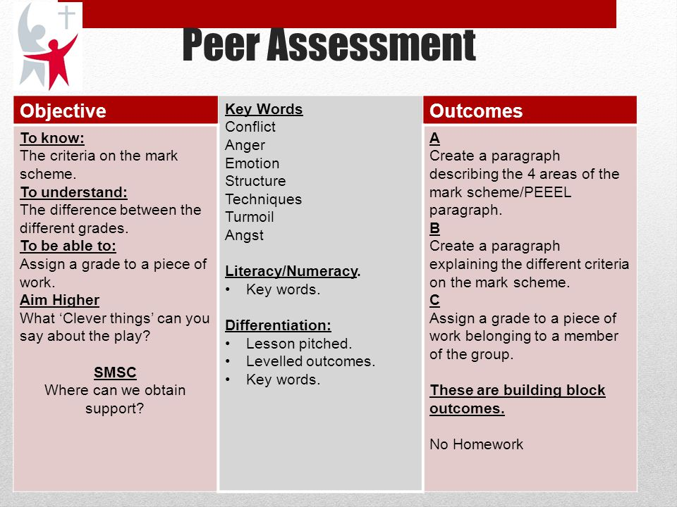 Peer Assessment The Big Picture: Students are beginning to work on their controlled assessments and they are examining the mark scheme in order to fully understand how to achieve their target grades.