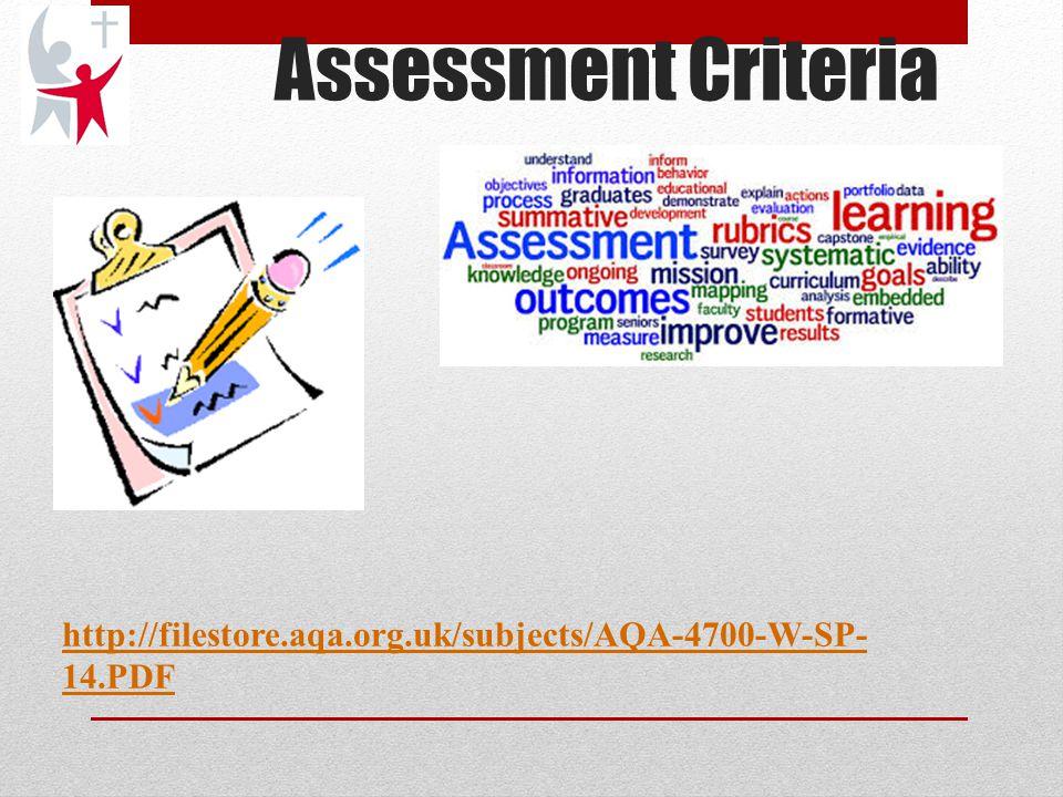 Assessment Criteria http://filestore.aqa.org.uk/subjects/AQA-4700-W-SP- 14.PDF