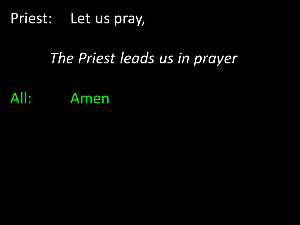 Priest: Let us pray, The Priest leads us in prayer All: Amen