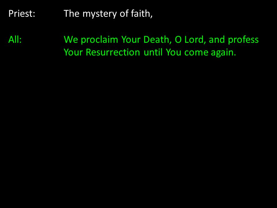 Priest: The mystery of faith, All: We proclaim Your Death, O Lord, and profess Your Resurrection until You come again.