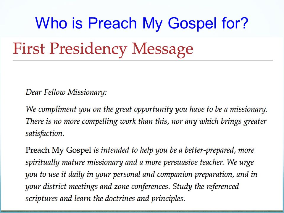 Who is Preach My Gospel for