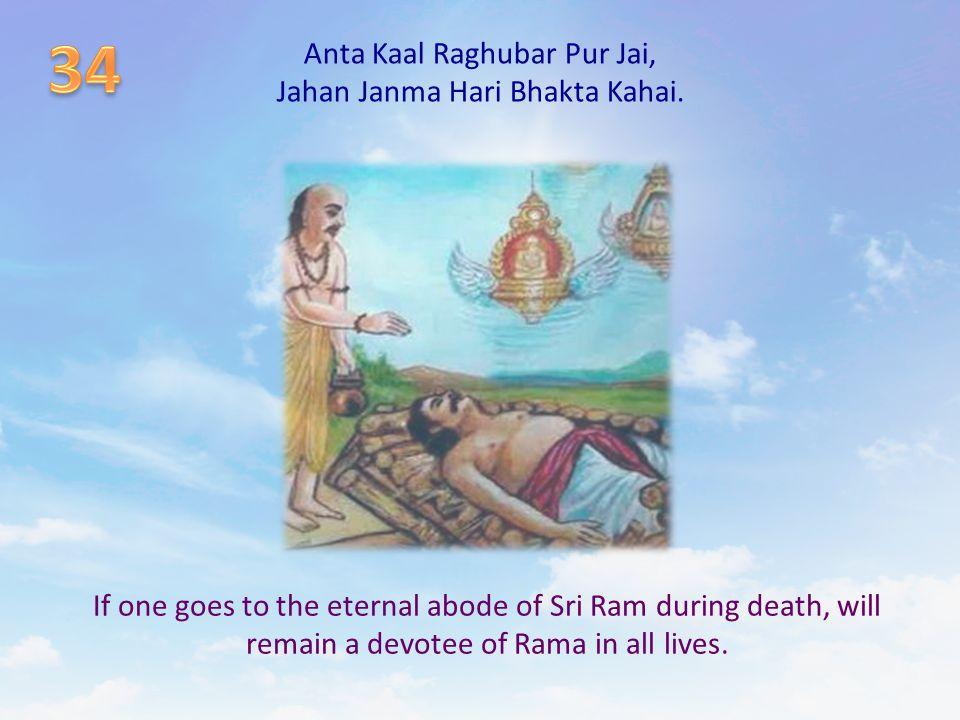 Anta Kaal Raghubar Pur Jai, Jahan Janma Hari Bhakta Kahai. If one goes to the eternal abode of Sri Ram during death, will remain a devotee of Rama in