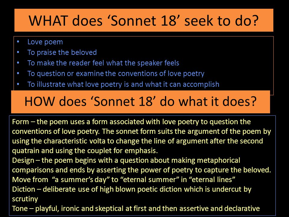 WHAT does 'Sonnet 18' seek to do.