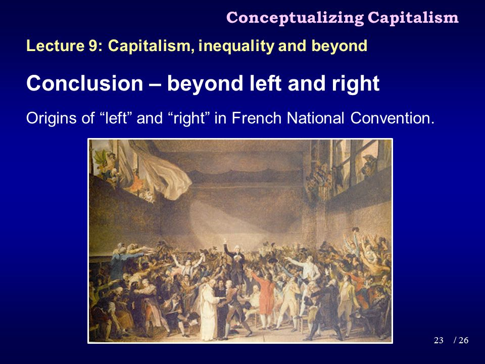 Conclusion – beyond left and right Origins of left and right in French National Convention.