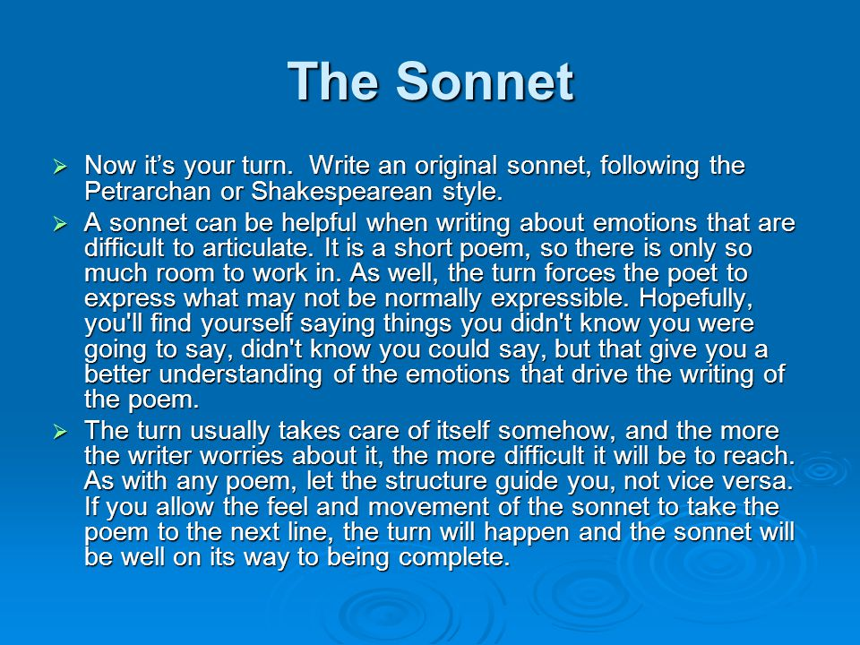 The Sonnet  Now it's your turn.